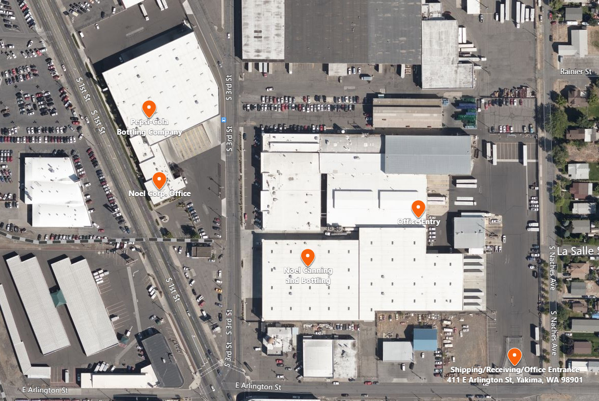 Noel Canning Shipping and Receiving Location Map - Yakima, WA